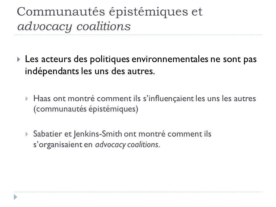 Communautés épistémiques et advocacy coalitions Les acteurs des politiques environnementales ne sont pas indépendants les uns des autres. Haas ont mon