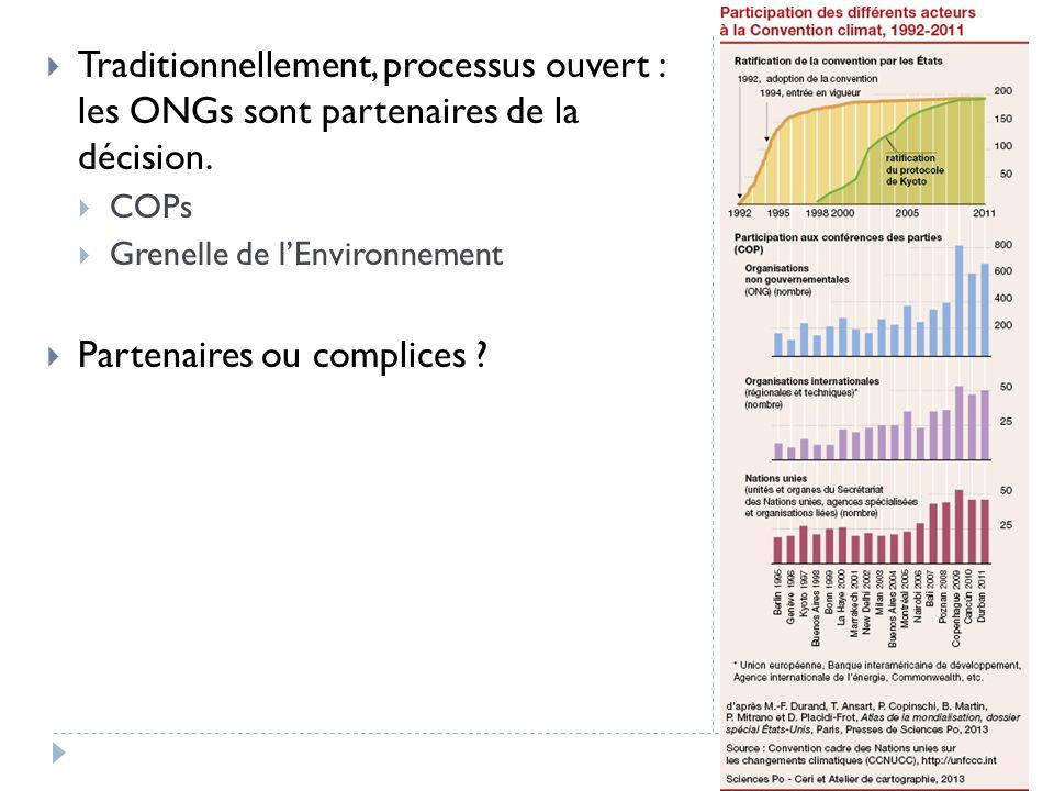 Traditionnellement, processus ouvert : les ONGs sont partenaires de la décision. COPs Grenelle de lEnvironnement Partenaires ou complices ?