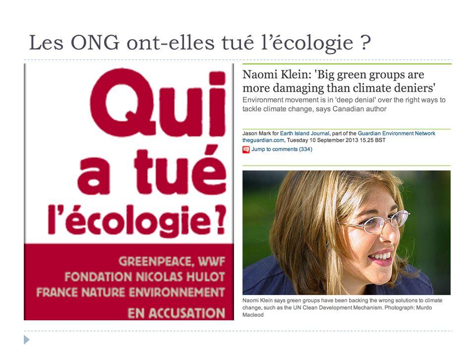 Les ONG ont-elles tué lécologie