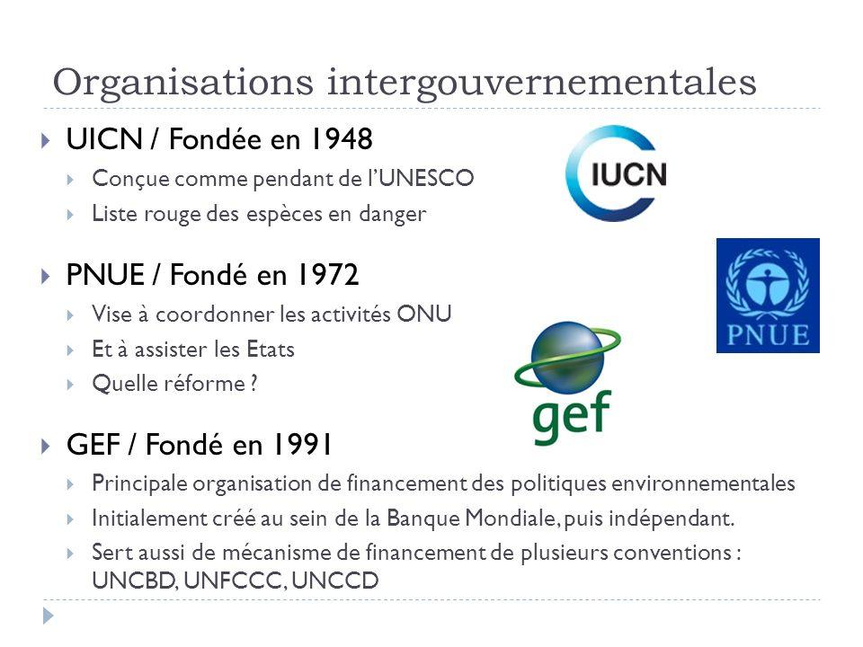 Organisations intergouvernementales UICN / Fondée en 1948 Conçue comme pendant de lUNESCO Liste rouge des espèces en danger PNUE / Fondé en 1972 Vise