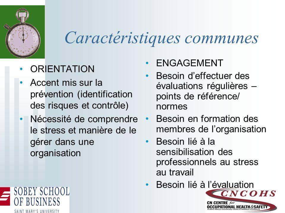 Caractéristiques communes ORIENTATION Accent mis sur la prévention (identification des risques et contrôle) Nécessité de comprendre le stress et maniè
