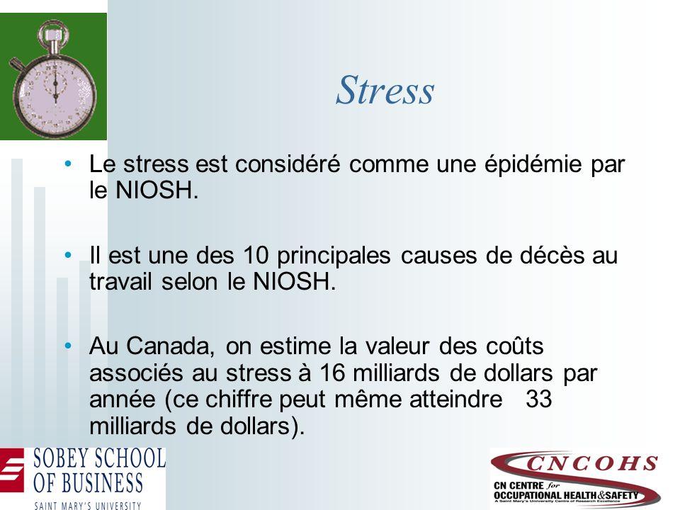 Stress Le stress est considéré comme une épidémie par le NIOSH. Il est une des 10 principales causes de décès au travail selon le NIOSH. Au Canada, on