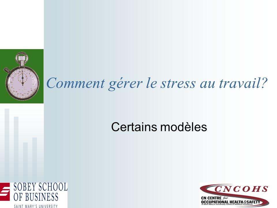 Le modèle américain : santé publique (NIOSH) Facteur de stress Stress Tension Prévention primaire Prévention secondaire Prévention tertiaire Dans certaines juridictions, le stress est une condition indemnisable.
