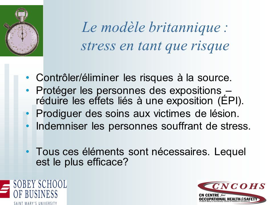 Le modèle britannique : stress en tant que risque Contrôler/éliminer les risques à la source. Protéger les personnes des expositions – réduire les eff