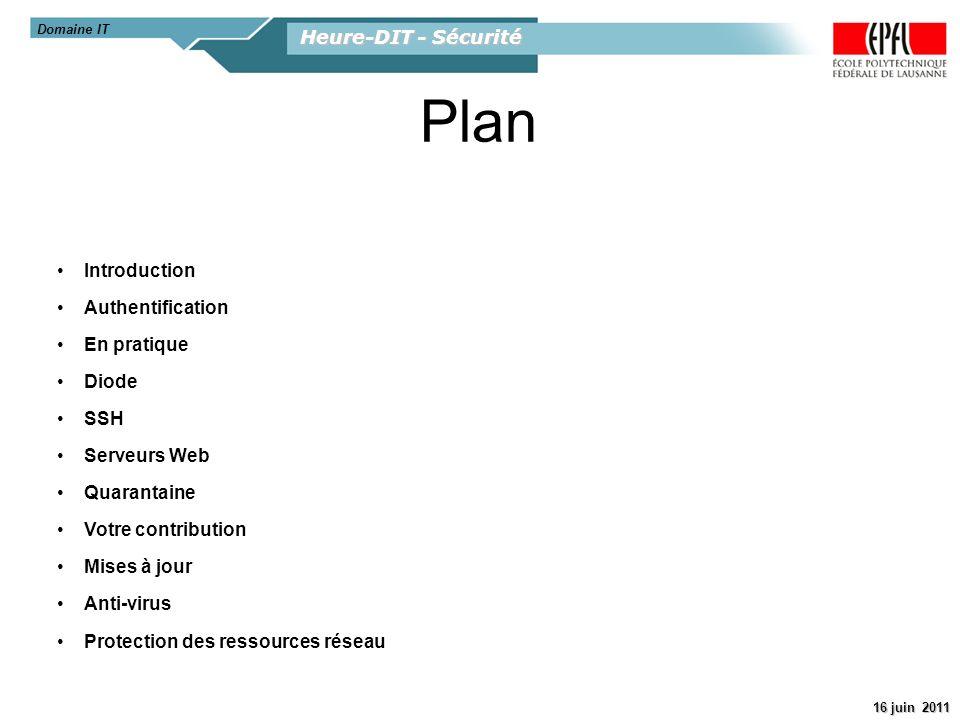 Heure-DIT - Sécurité 16 juin 2011 Introduction Authentification En pratique Diode SSH Serveurs Web Quarantaine Votre contribution Mises à jour Anti-vi