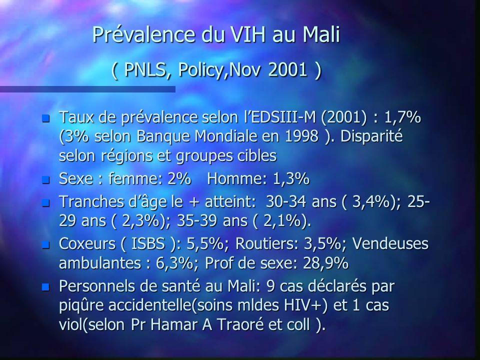Prévalence du VIH au Mali ( PNLS, Policy,Nov 2001 ) n Taux de prévalence selon lEDSIII-M (2001) : 1,7% (3% selon Banque Mondiale en 1998 ). Disparité
