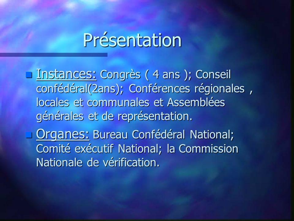 Présentation n Instances: Congrès ( 4 ans ); Conseil confédéral(2ans); Conférences régionales, locales et communales et Assemblées générales et de rep