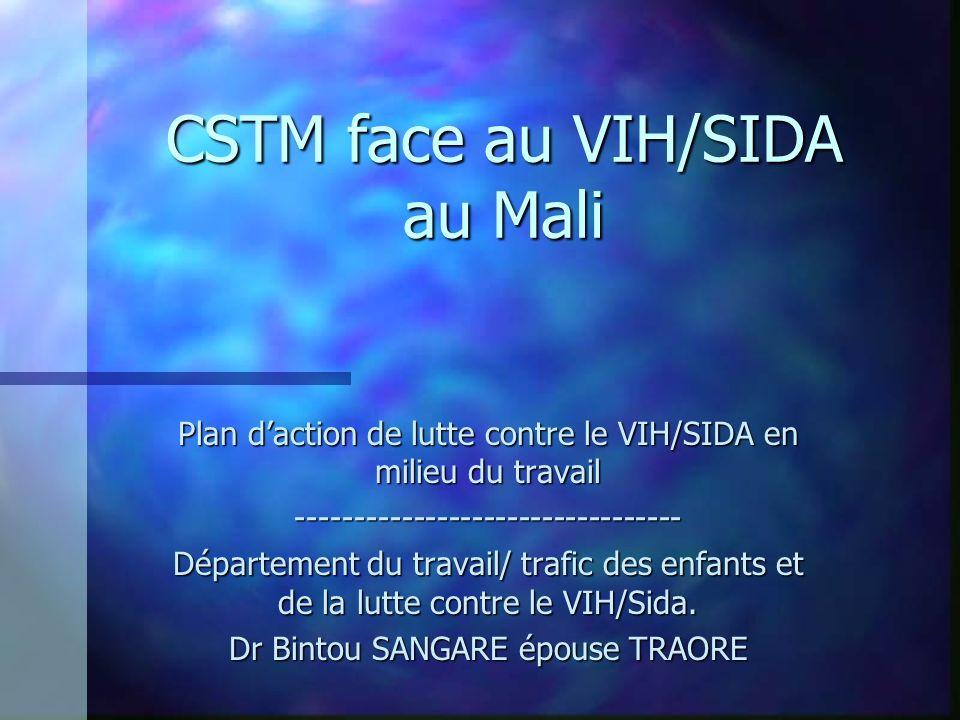 CSTM face au VIH/SIDA au Mali Plan daction de lutte contre le VIH/SIDA en milieu du travail --------------------------------- Département du travail/