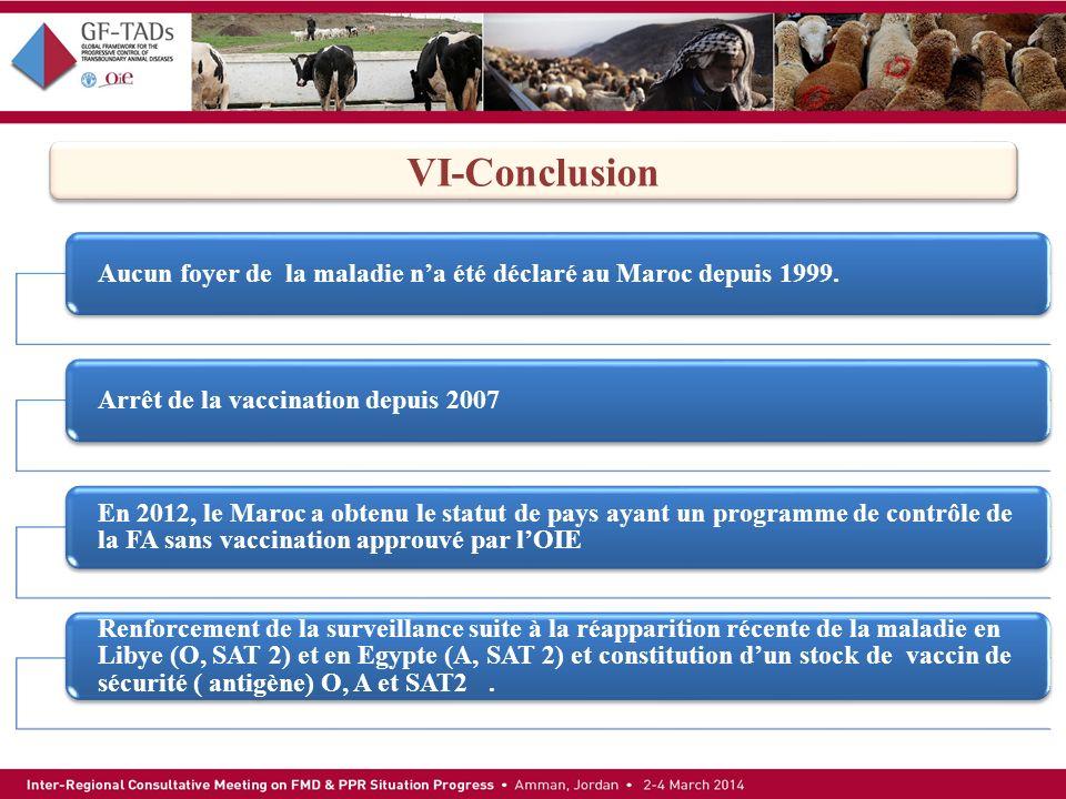 Aucun foyer de la maladie na été déclaré au Maroc depuis 1999.Arrêt de la vaccination depuis 2007 En 2012, le Maroc a obtenu le statut de pays ayant u