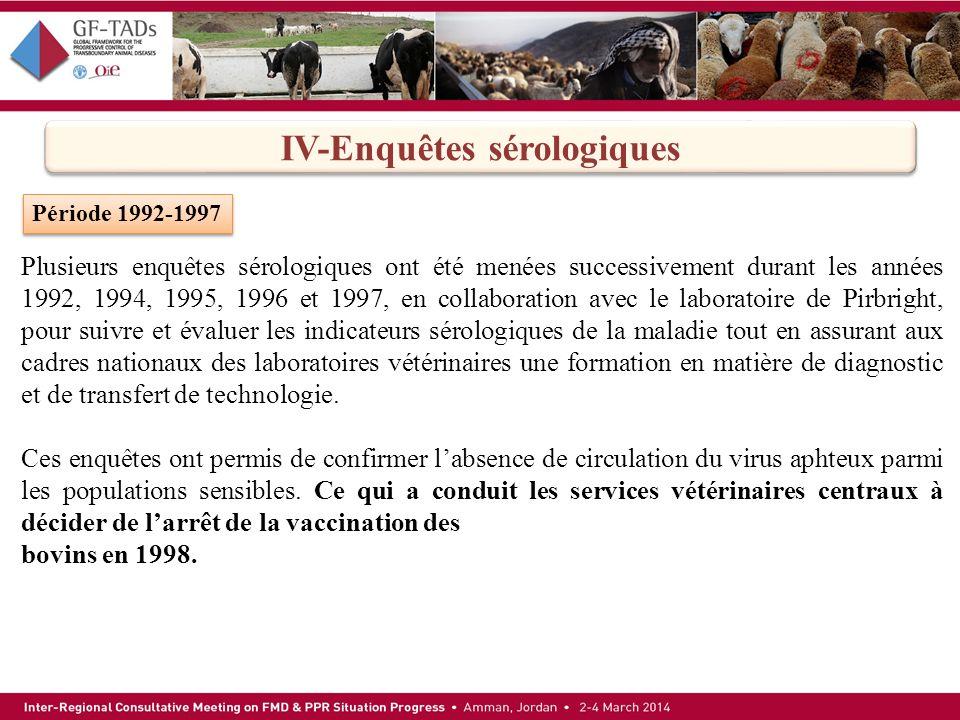 IV-Enquêtes sérologiques Période 1992-1997 Plusieurs enquêtes sérologiques ont été menées successivement durant les années 1992, 1994, 1995, 1996 et 1