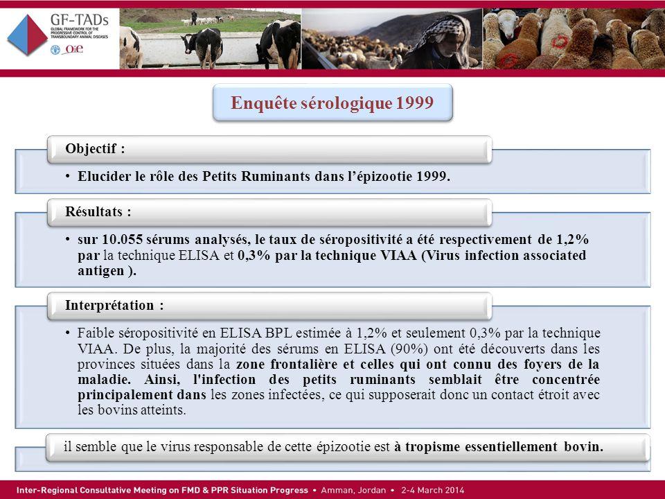 Elucider le rôle des Petits Ruminants dans lépizootie 1999. Objectif : sur 10.055 sérums analysés, le taux de séropositivité a été respectivement de 1