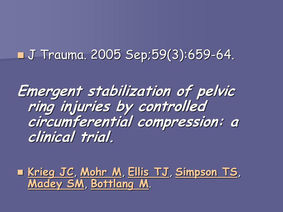J Trauma. 2005 Sep;59(3):659-64. J Trauma. 2005 Sep;59(3):659-64. Emergent stabilization of pelvic ring injuries by controlled circumferential compres