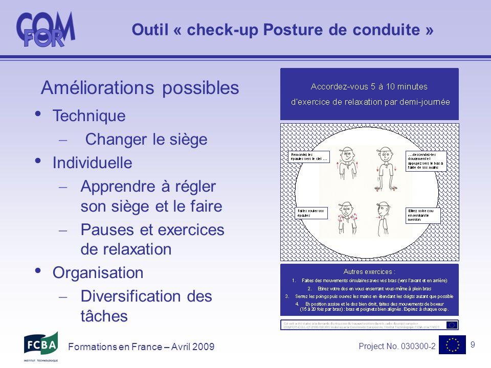 Project No.030300-2 10 Formations en France – Avril 2009 Retour dexpériences .
