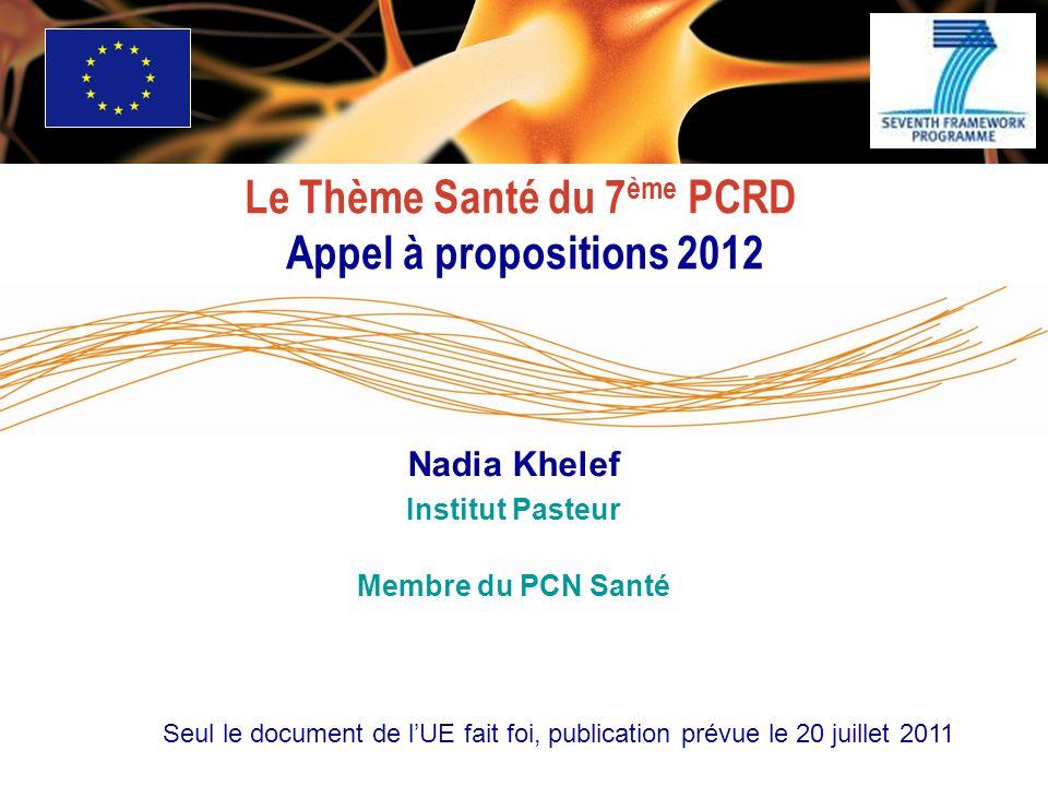 Le Thème Santé du 7 ème PCRD Appel à propositions 2012 Seul le document de lUE fait foi, publication prévue le 20 juillet 2011 Nadia Khelef Institut Pasteur Membre du PCN Santé