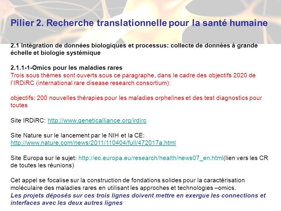 Pilier 2. Recherche translationnelle pour la santé humaine 2.1 Intégration de données biologiques et processus: collecte de données à grande échelle e