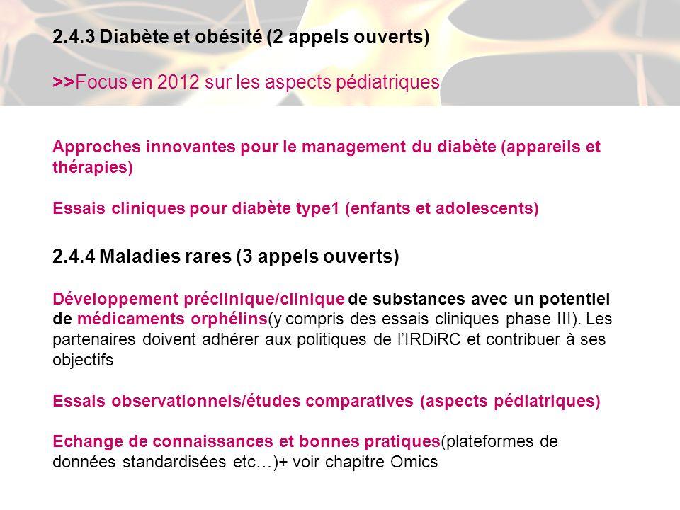 2.4.3 Diabète et obésité (2 appels ouverts) >>Focus en 2012 sur les aspects pédiatriques Approches innovantes pour le management du diabète (appareils et thérapies) Essais cliniques pour diabète type1 (enfants et adolescents) 2.4.4 Maladies rares (3 appels ouverts) Développement préclinique/clinique de substances avec un potentiel de médicaments orphélins(y compris des essais cliniques phase III).