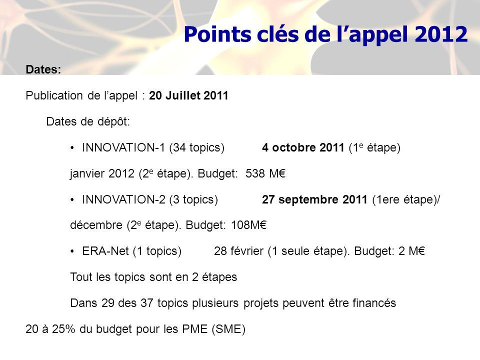 Dates: Publication de lappel : 20 Juillet 2011 Dates de dépôt: INNOVATION-1 (34 topics)4 octobre 2011 (1 e étape) janvier 2012 (2 e étape). Budget: 53