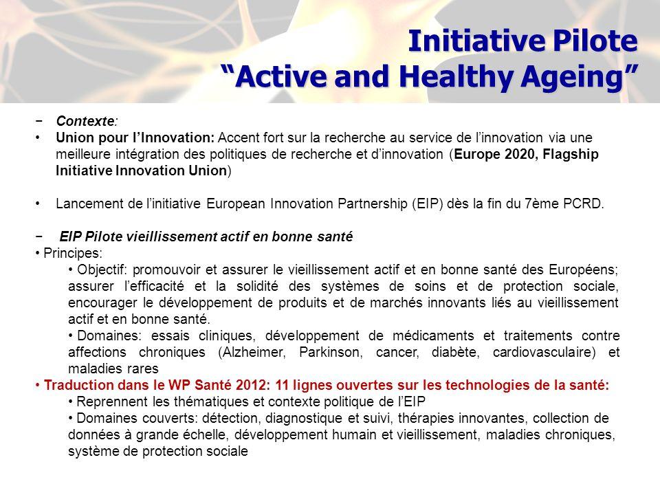 Contexte: Union pour lInnovation: Accent fort sur la recherche au service de linnovation via une meilleure intégration des politiques de recherche et dinnovation (Europe 2020, Flagship Initiative Innovation Union) Lancement de linitiative European Innovation Partnership (EIP) dès la fin du 7ème PCRD.