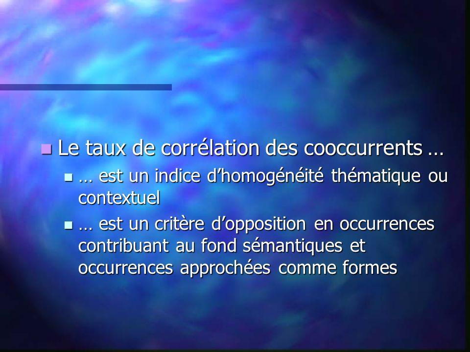 Le taux de corrélation des cooccurrents … Le taux de corrélation des cooccurrents … … est un indice dhomogénéité thématique ou contextuel … est un indice dhomogénéité thématique ou contextuel … est un critère dopposition en occurrences contribuant au fond sémantiques et occurrences approchées comme formes … est un critère dopposition en occurrences contribuant au fond sémantiques et occurrences approchées comme formes