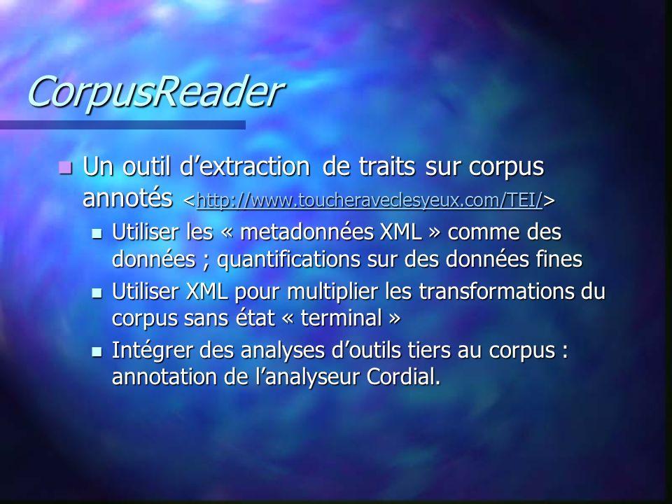 CorpusReader Un outil dextraction de traits sur corpus annotés Un outil dextraction de traits sur corpus annotés http://www.toucheraveclesyeux.com/TEI/ Utiliser les « metadonnées XML » comme des données ; quantifications sur des données fines Utiliser les « metadonnées XML » comme des données ; quantifications sur des données fines Utiliser XML pour multiplier les transformations du corpus sans état « terminal » Utiliser XML pour multiplier les transformations du corpus sans état « terminal » Intégrer des analyses doutils tiers au corpus : annotation de lanalyseur Cordial.