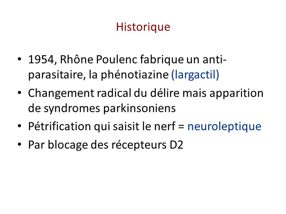 Historique 1954, Rhône Poulenc fabrique un anti- parasitaire, la phénotiazine (largactil) Changement radical du délire mais apparition de syndromes pa