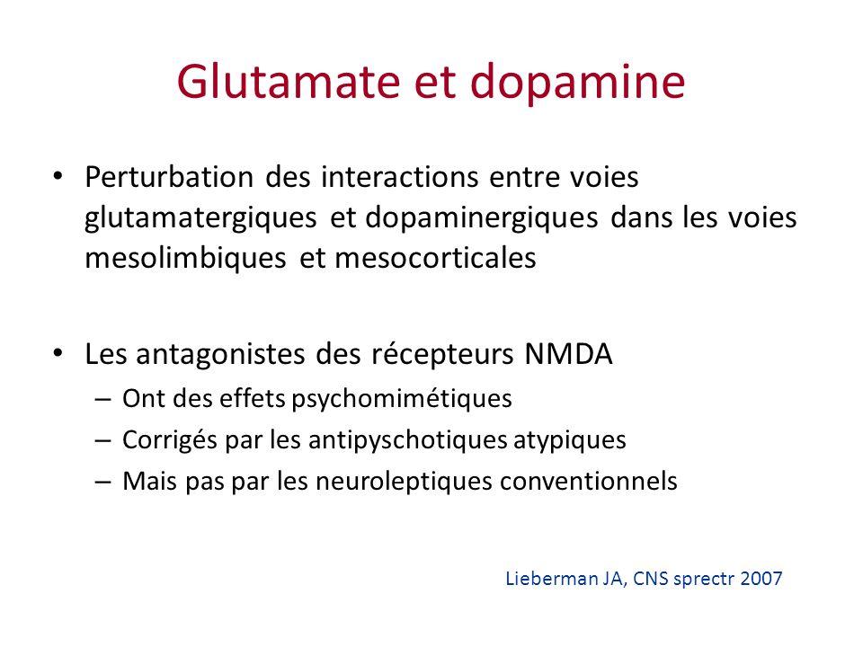 Glutamate et dopamine Perturbation des interactions entre voies glutamatergiques et dopaminergiques dans les voies mesolimbiques et mesocorticales Les