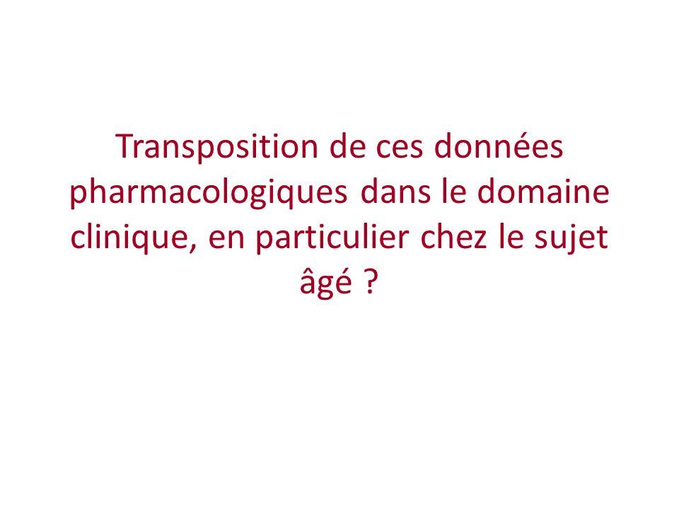 Transposition de ces données pharmacologiques dans le domaine clinique, en particulier chez le sujet âgé ?