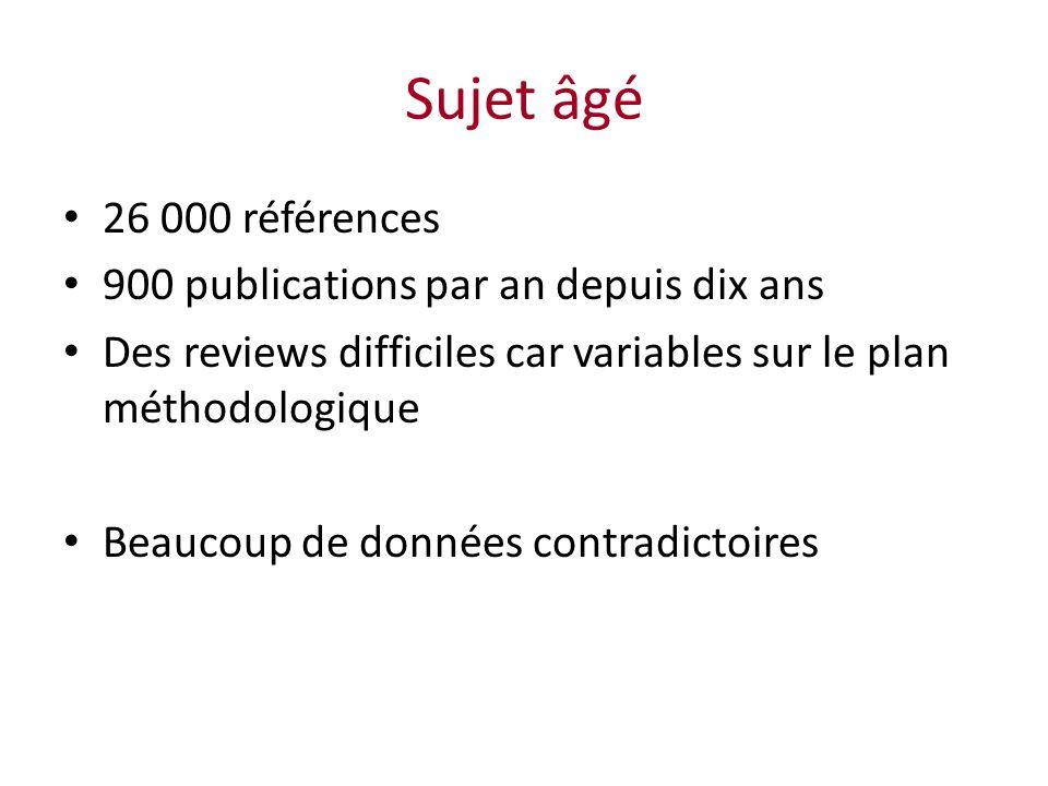 Sujet âgé 26 000 références 900 publications par an depuis dix ans Des reviews difficiles car variables sur le plan méthodologique Beaucoup de données