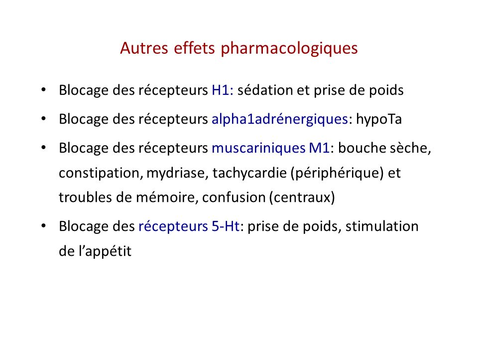 Autres effets pharmacologiques Blocage des récepteurs H1: sédation et prise de poids Blocage des récepteurs alpha1adrénergiques: hypoTa Blocage des ré