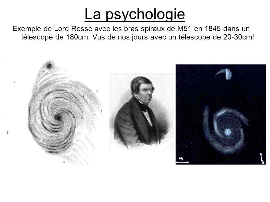 La psychologie Exemple de Lord Rosse avec les bras spiraux de M51 en 1845 dans un télescope de 180cm. Vus de nos jours avec un télescope de 20-30cm!