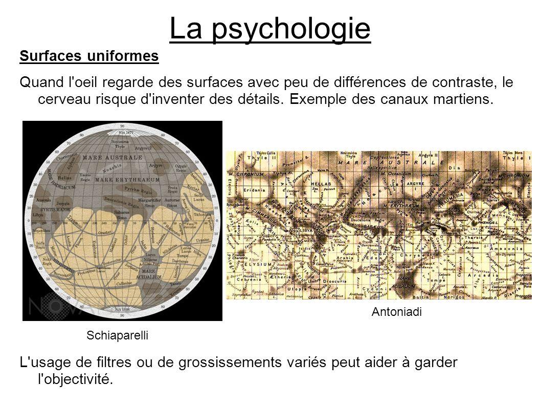 La psychologie Surfaces uniformes Quand l'oeil regarde des surfaces avec peu de différences de contraste, le cerveau risque d'inventer des détails. Ex