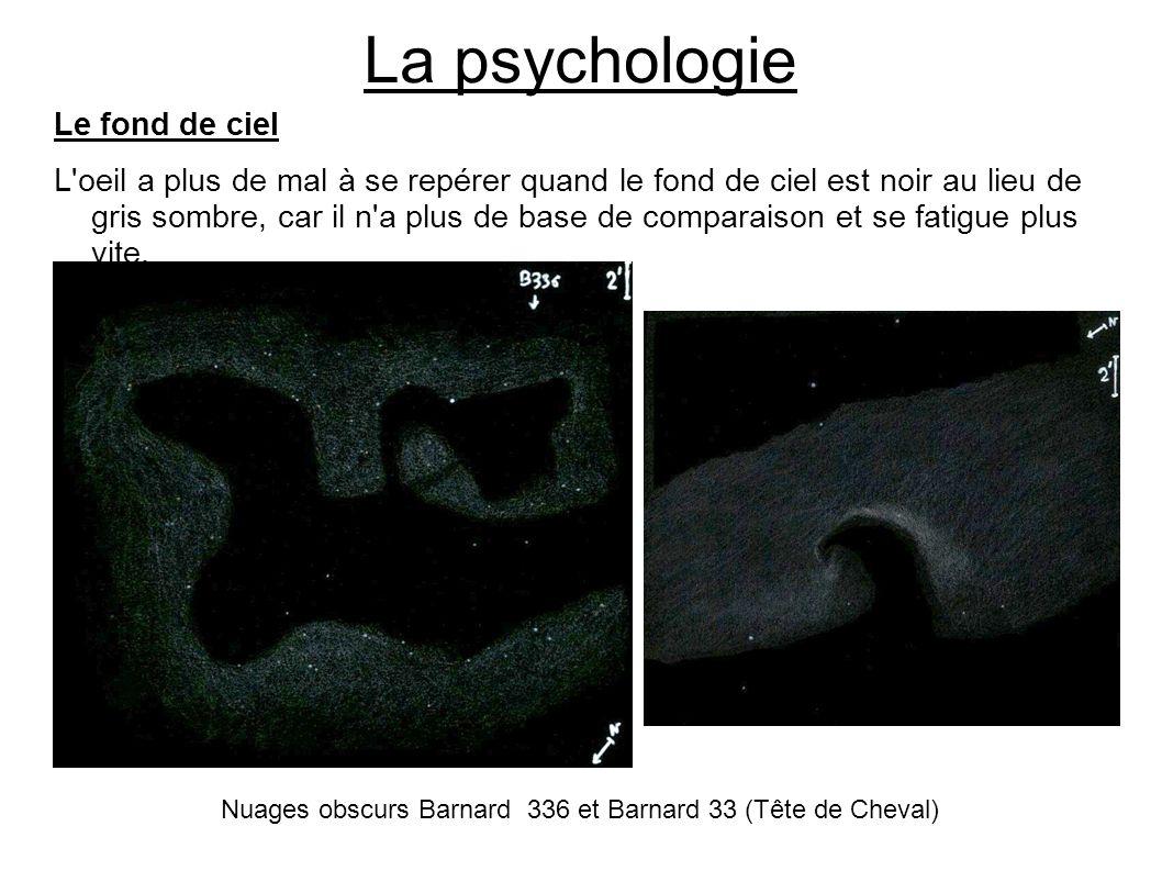 La psychologie Le fond de ciel L'oeil a plus de mal à se repérer quand le fond de ciel est noir au lieu de gris sombre, car il n'a plus de base de com