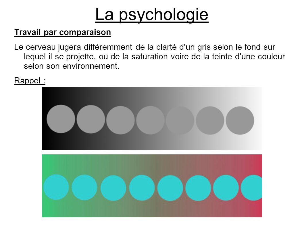 La psychologie Travail par comparaison Le cerveau jugera différemment de la clarté d'un gris selon le fond sur lequel il se projette, ou de la saturat