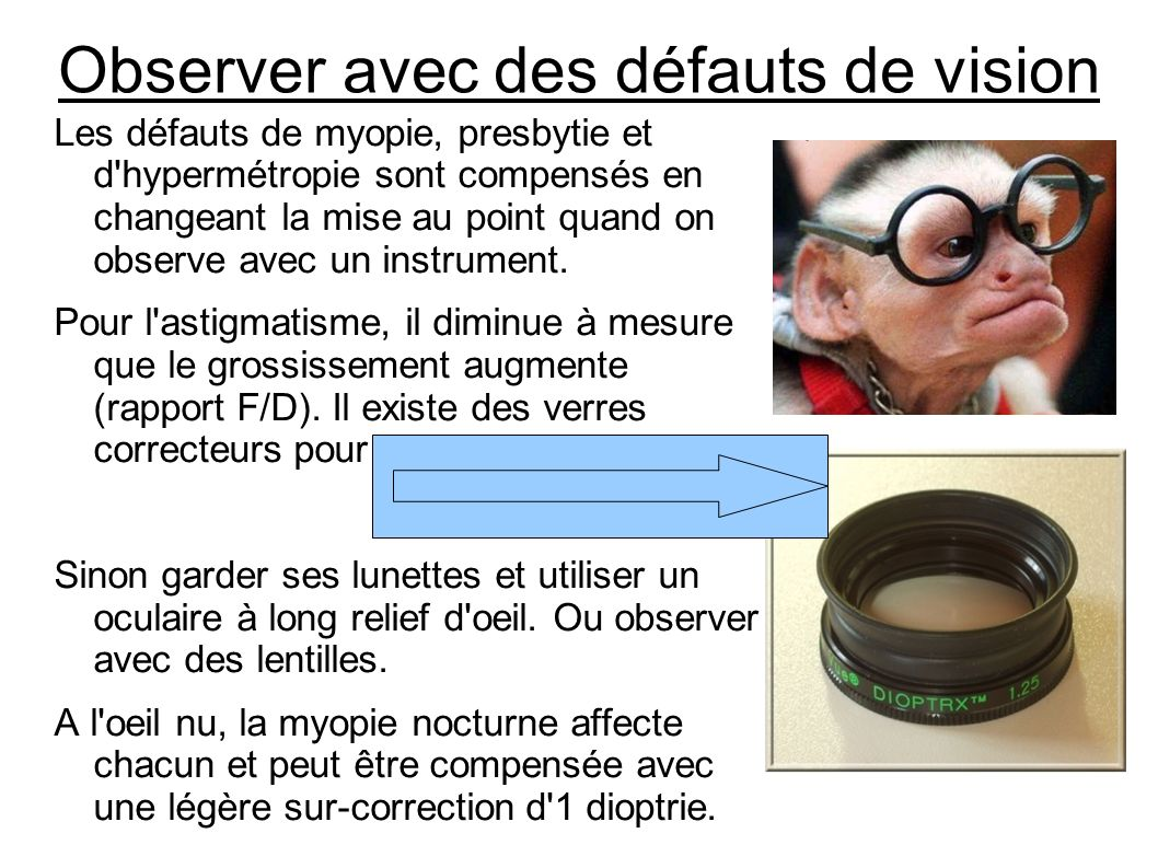 Observer avec des défauts de vision Les défauts de myopie, presbytie et d'hypermétropie sont compensés en changeant la mise au point quand on observe