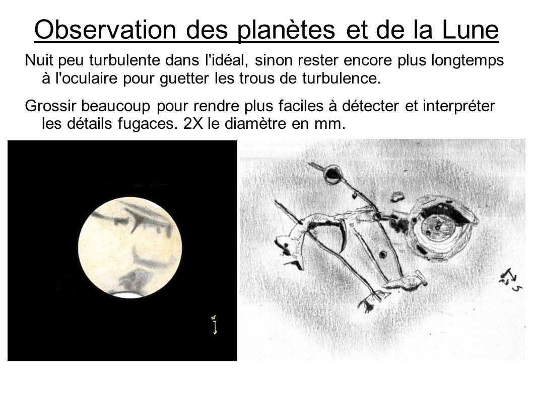 Observation des planètes et de la Lune Nuit peu turbulente dans l'idéal, sinon rester encore plus longtemps à l'oculaire pour guetter les trous de tur