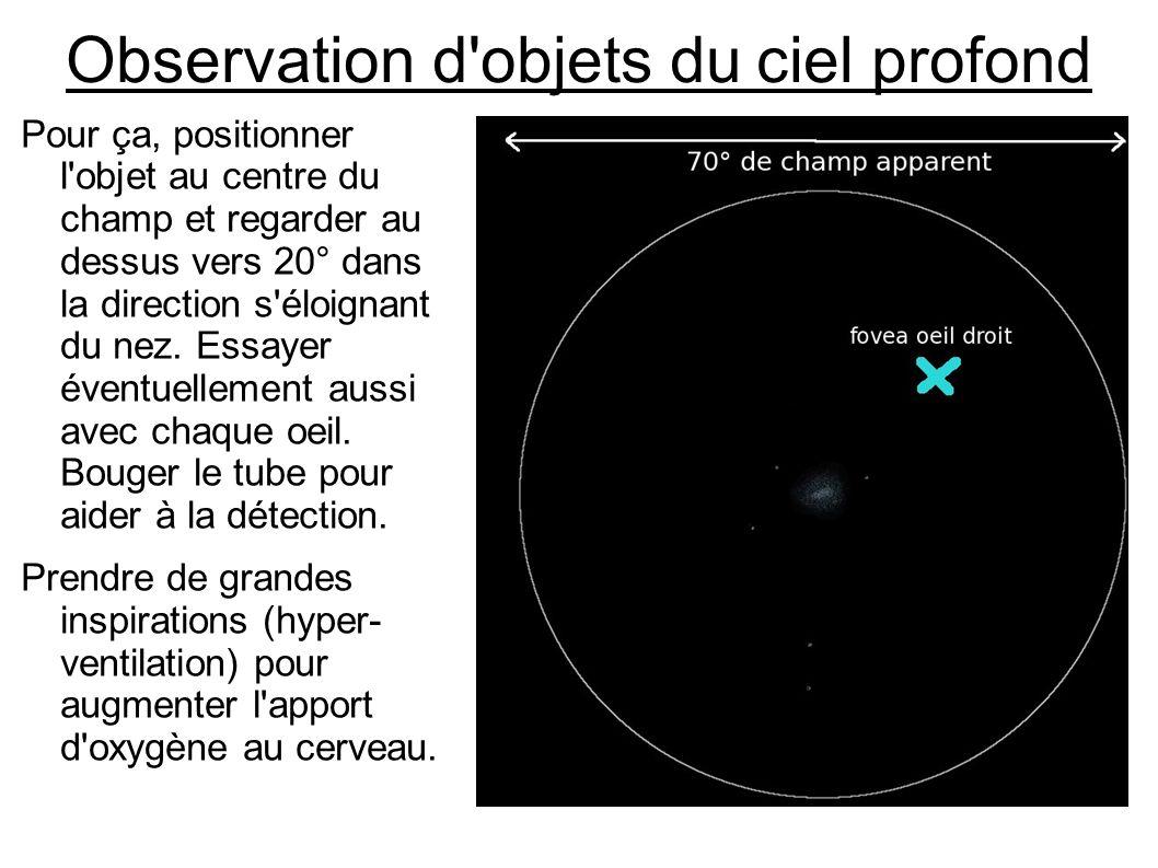Observation d'objets du ciel profond Pour ça, positionner l'objet au centre du champ et regarder au dessus vers 20° dans la direction s'éloignant du n