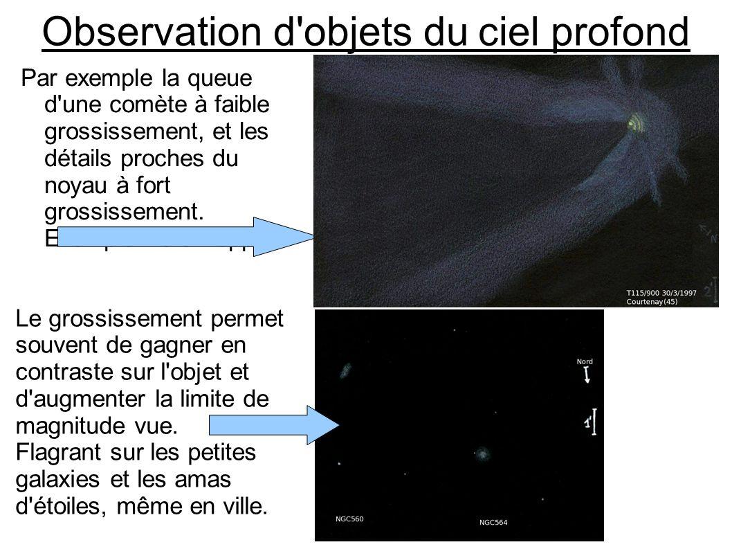 Observation d'objets du ciel profond Par exemple la queue d'une comète à faible grossissement, et les détails proches du noyau à fort grossissement. E