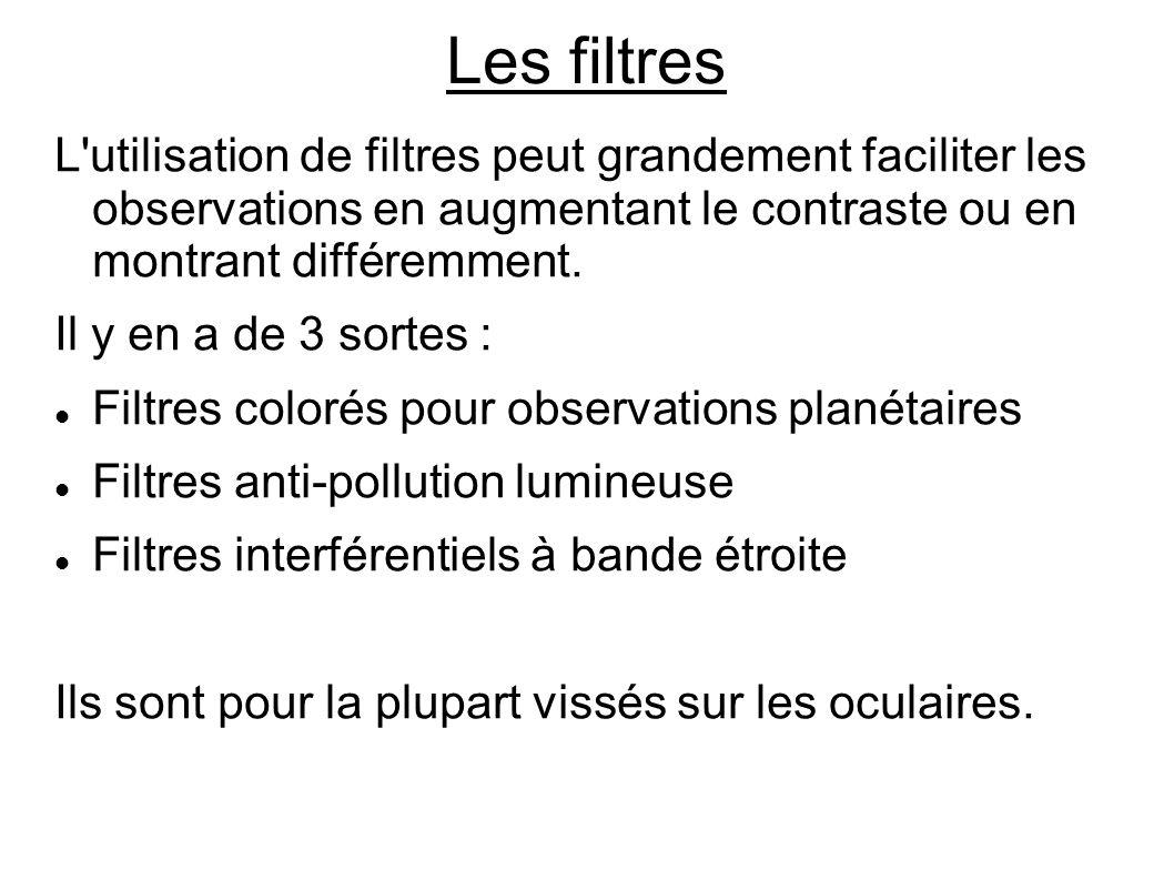 Les filtres L'utilisation de filtres peut grandement faciliter les observations en augmentant le contraste ou en montrant différemment. Il y en a de 3