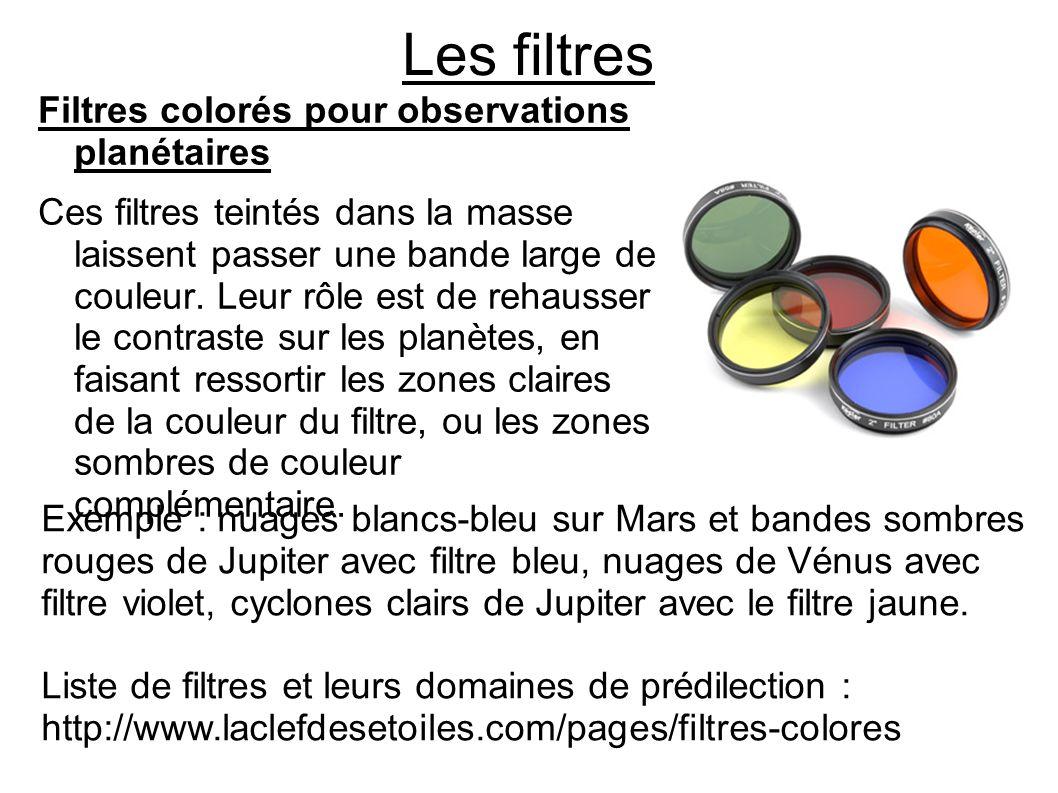 Les filtres Exemple : nuages blancs-bleu sur Mars et bandes sombres rouges de Jupiter avec filtre bleu, nuages de Vénus avec filtre violet, cyclones c