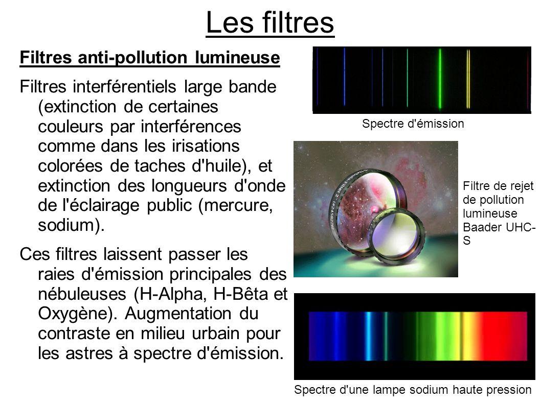 Les filtres Filtres anti-pollution lumineuse Filtres interférentiels large bande (extinction de certaines couleurs par interférences comme dans les ir