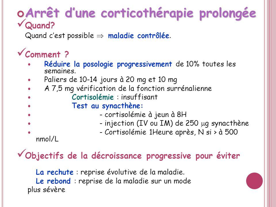 Corticothérapie prolongée Corticothérapie prolongée En cas de nécessité de traitement prolongé Préférer un corticoïde d action brève.