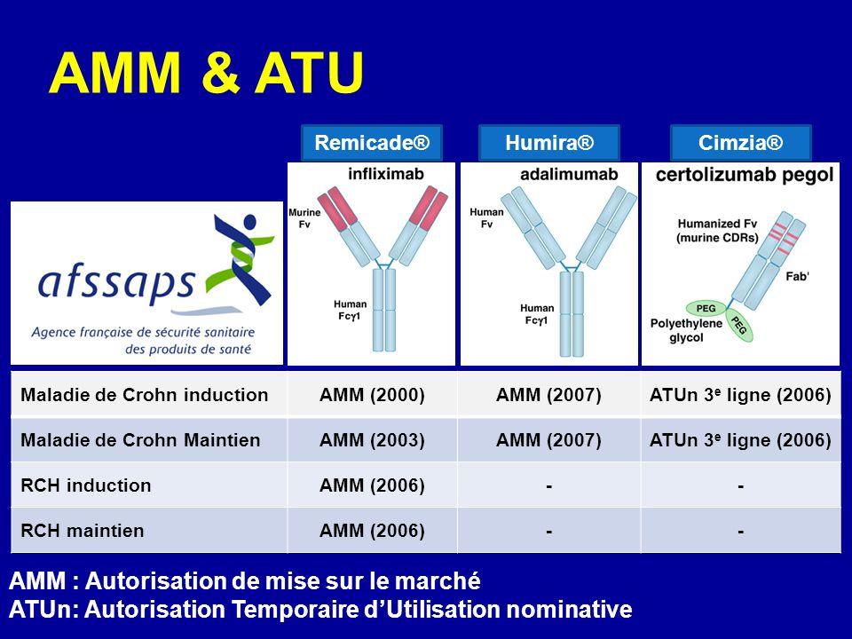 Maladie de Crohn inductionAMM (2000)AMM (2007)ATUn 3 e ligne (2006) Maladie de Crohn MaintienAMM (2003)AMM (2007)ATUn 3 e ligne (2006) RCH inductionAMM (2006)-- RCH maintienAMM (2006)-- AMM & ATU AMM : Autorisation de mise sur le marché ATUn: Autorisation Temporaire dUtilisation nominative Remicade®Humira®Cimzia®