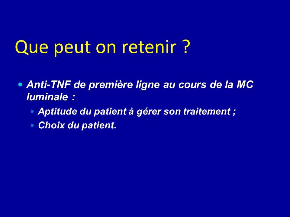 Que peut on retenir ? Anti-TNF de première ligne au cours de la MC luminale : Aptitude du patient à gérer son traitement ; Choix du patient.