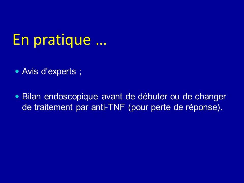 En pratique … Avis dexperts ; Bilan endoscopique avant de débuter ou de changer de traitement par anti-TNF (pour perte de réponse).