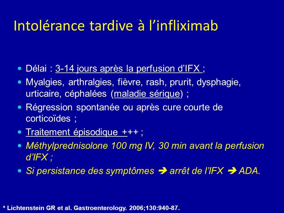 Délai : 3-14 jours après la perfusion dIFX ; Myalgies, arthralgies, fièvre, rash, prurit, dysphagie, urticaire, céphalées (maladie sérique) ; Régression spontanée ou après cure courte de corticoïdes ; Traitement épisodique +++ ; Méthylprednisolone 100 mg IV, 30 min avant la perfusion dIFX ; Si persistance des symptômes arrêt de lIFX ADA.