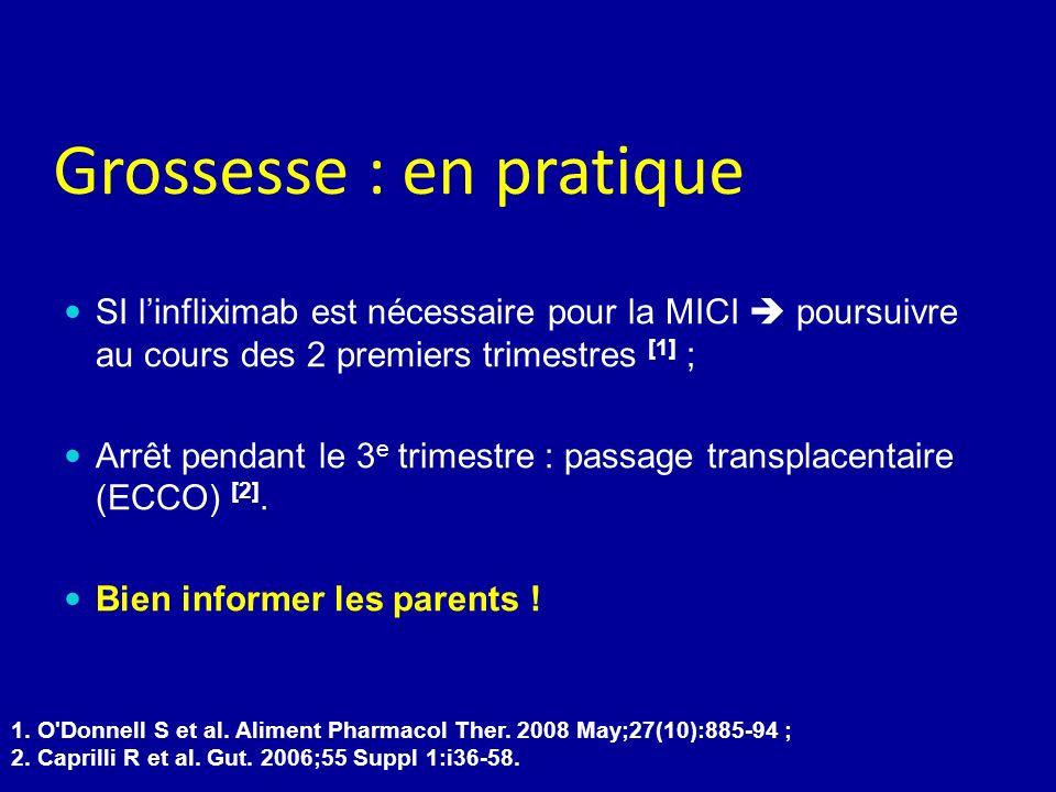 Grossesse : en pratique SI linfliximab est nécessaire pour la MICI poursuivre au cours des 2 premiers trimestres [1] ; Arrêt pendant le 3 e trimestre : passage transplacentaire (ECCO) [2].