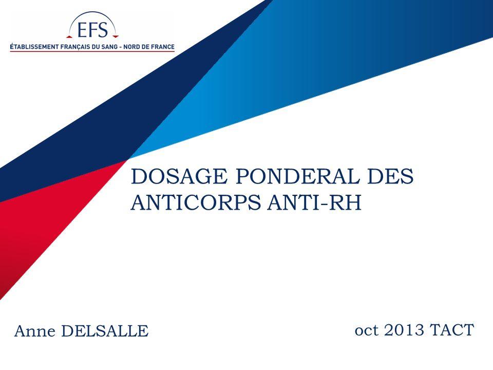 2 / EFS Nord de France - Anne DELSALLE - xx/10/2013 Définition Examen qui permet de mesurer la quantité danticorps anti-RH présent dans un échantillon biologique et de lexprimer en poids (µg/ml) ou encore en UI/ml.