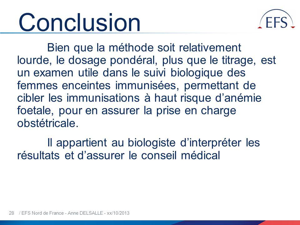 28 / EFS Nord de France - Anne DELSALLE - xx/10/2013 Conclusion Bien que la méthode soit relativement lourde, le dosage pondéral, plus que le titrage,