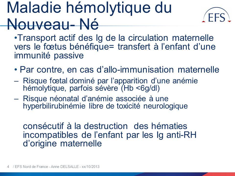 5 / EFS Nord de France - Anne DELSALLE - xx/10/2013 MHNN Anémies fœtales sévères par IFM sont causées 90% anti-RH1 8% anti-KEL1 et anti-RH4 2% Ac autres spécificités Avant lapplication en 2005, de la prévention anténatale systématique à 28SA par injection dIg anti-D, il persiste encore 750 cas dallo- immunisation anti-D par an en France (0,9/1000 naissances)