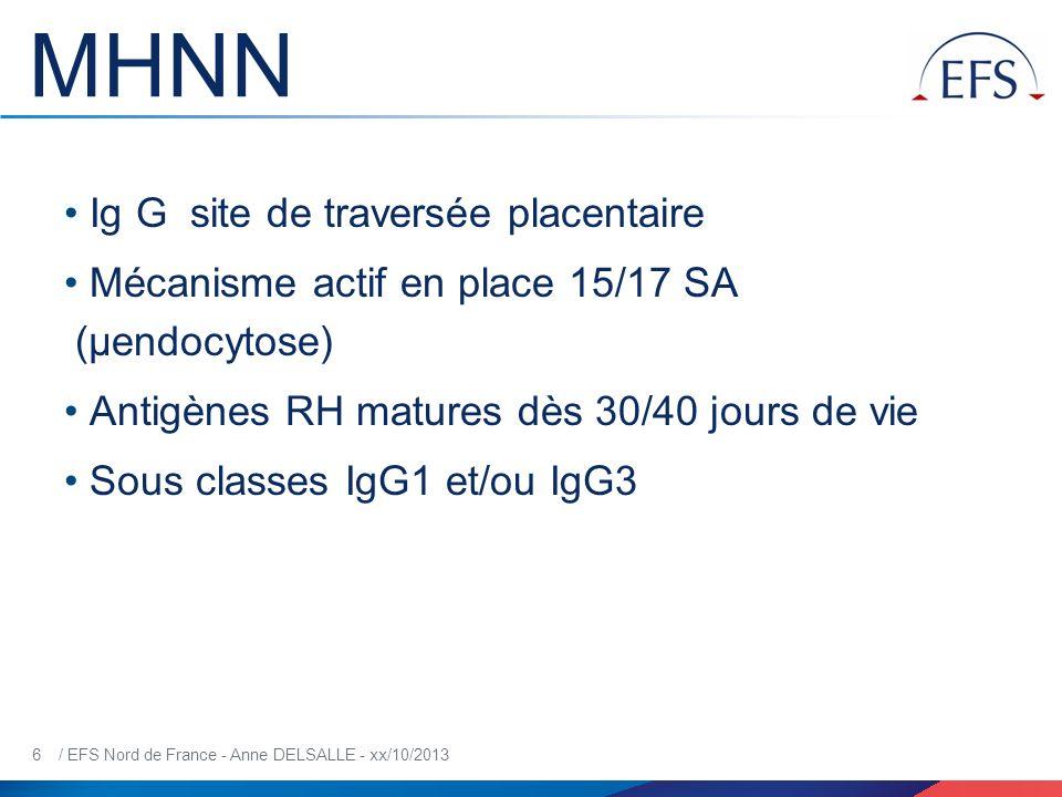 7 / EFS Nord de France - Anne DELSALLE - xx/10/2013 Rôle des sous classes Ig IgG1IgG3 20 SA [anti-D] foetus [anti-D] maman 28-32 SA [anti-D] foetus =[anti-D] maman ANEMIE SEVERE+++ (durée d exposition à lAC plus longue in utéro puisque passage précoce) Risque accru in utéro BILIRUBINE +++ (destruction accrue des GR sensibilisés par IgG3 car affinité RFc ϒ IgG3>IgG1 Risque accru chez le NN